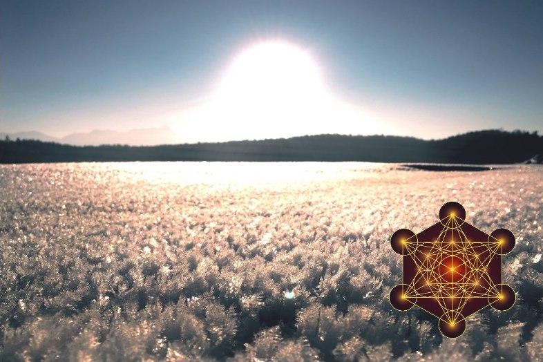 Licht und Kristallkörperprozess mit Metatron Web